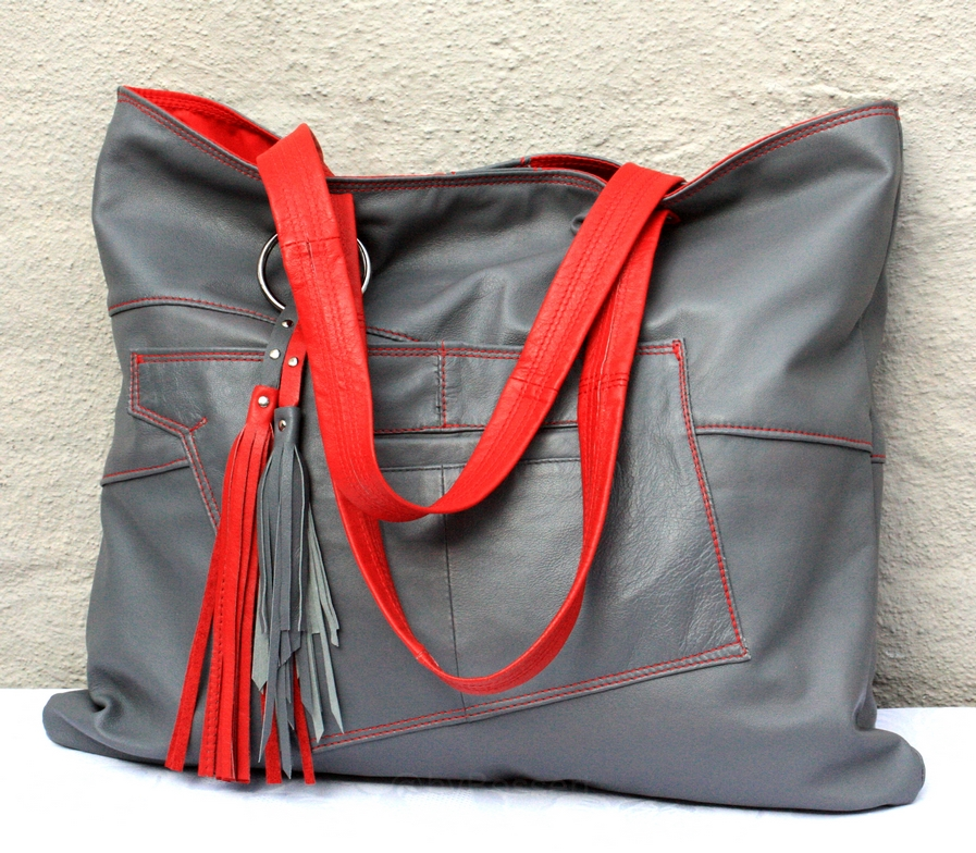 Grey an red city bag