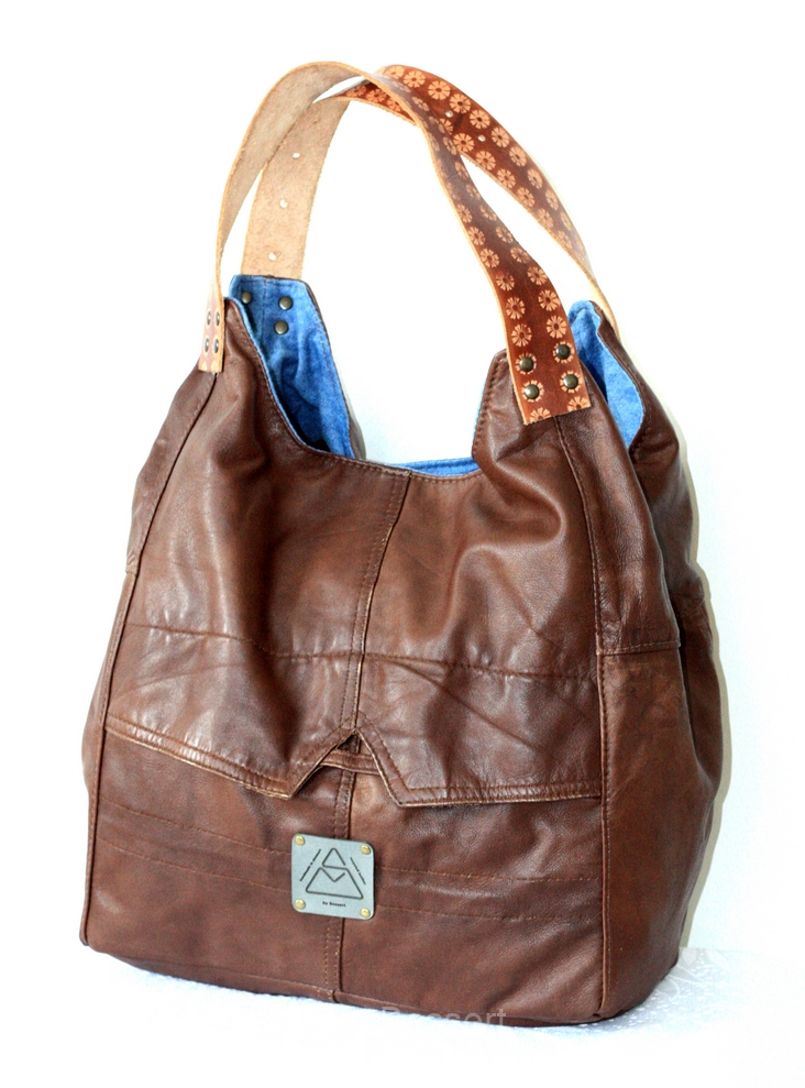 Brown shopper with denim linning