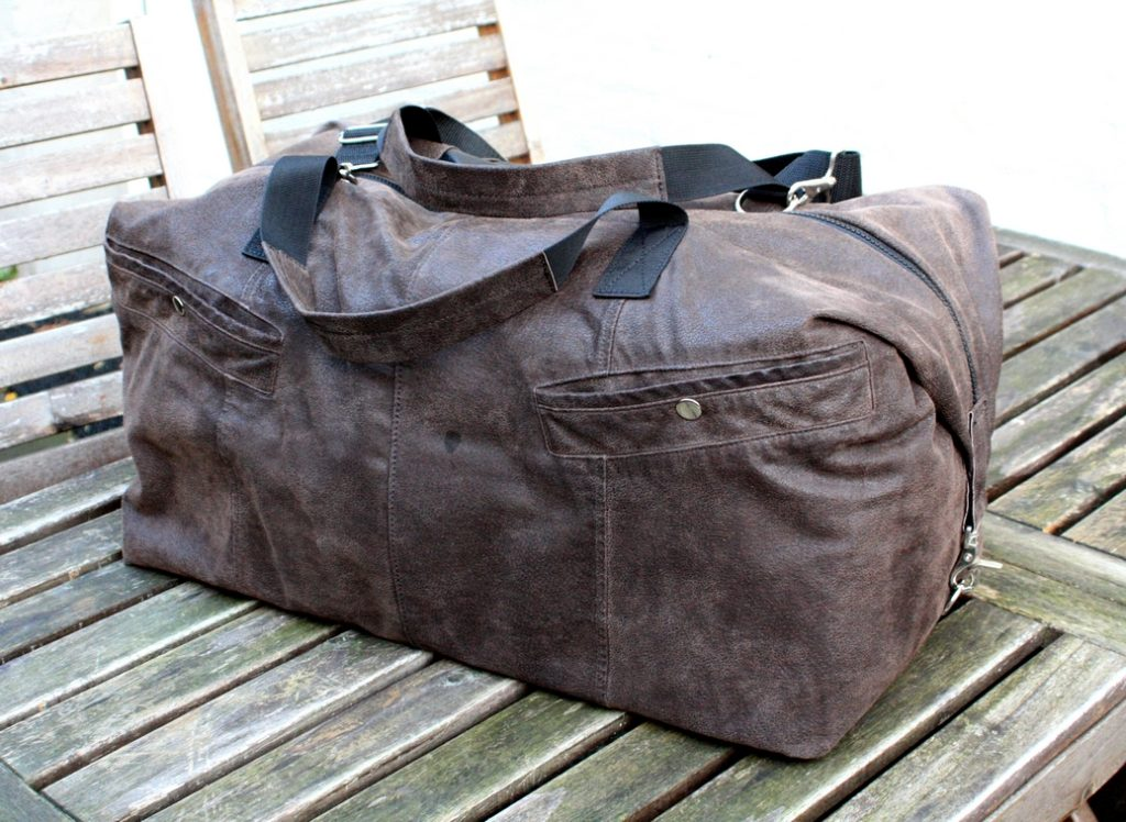 A brown travel bag