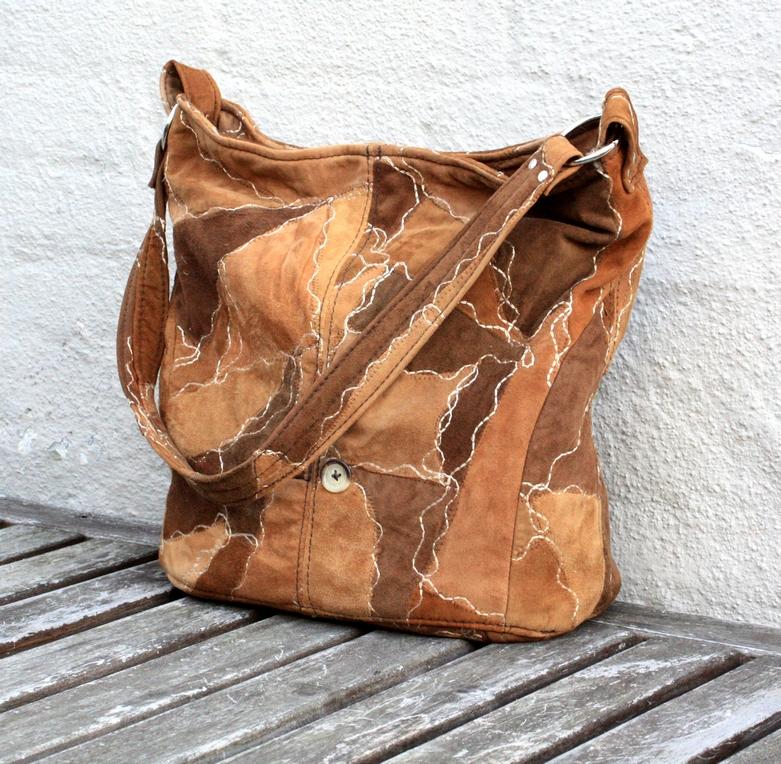 Blød ruskind patchwork taske