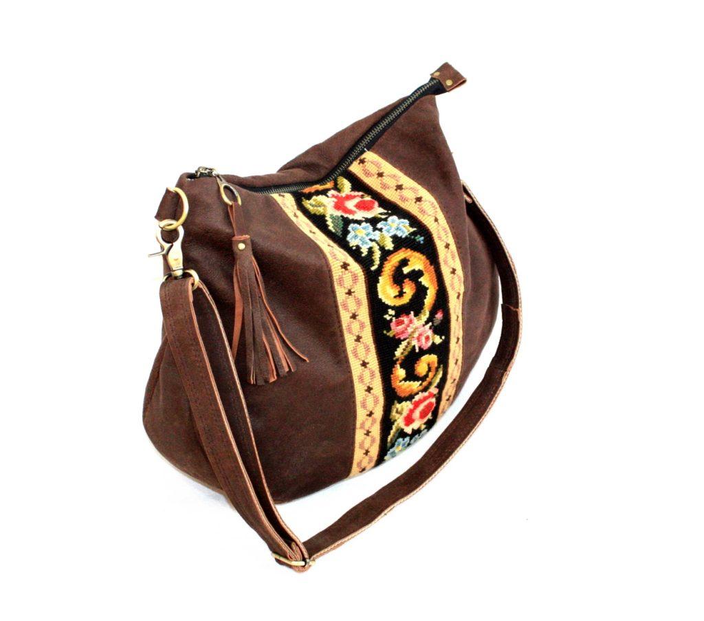 Chokolade brun ruskind taske med broderi