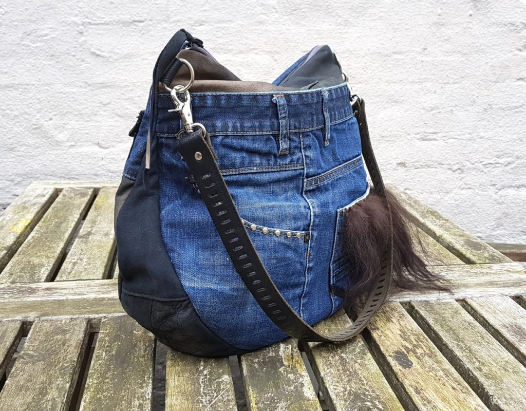 Denim og læder taske